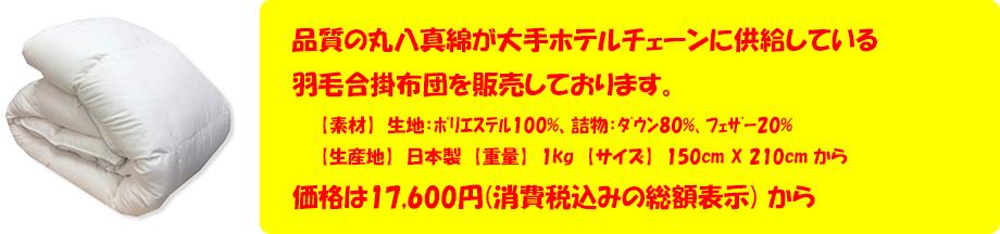 品質の丸八真綿が大手ホテルチェーンに供給している羽毛合掛布団を販売しております。価格は17,600円(消費税込みの総額表示) から